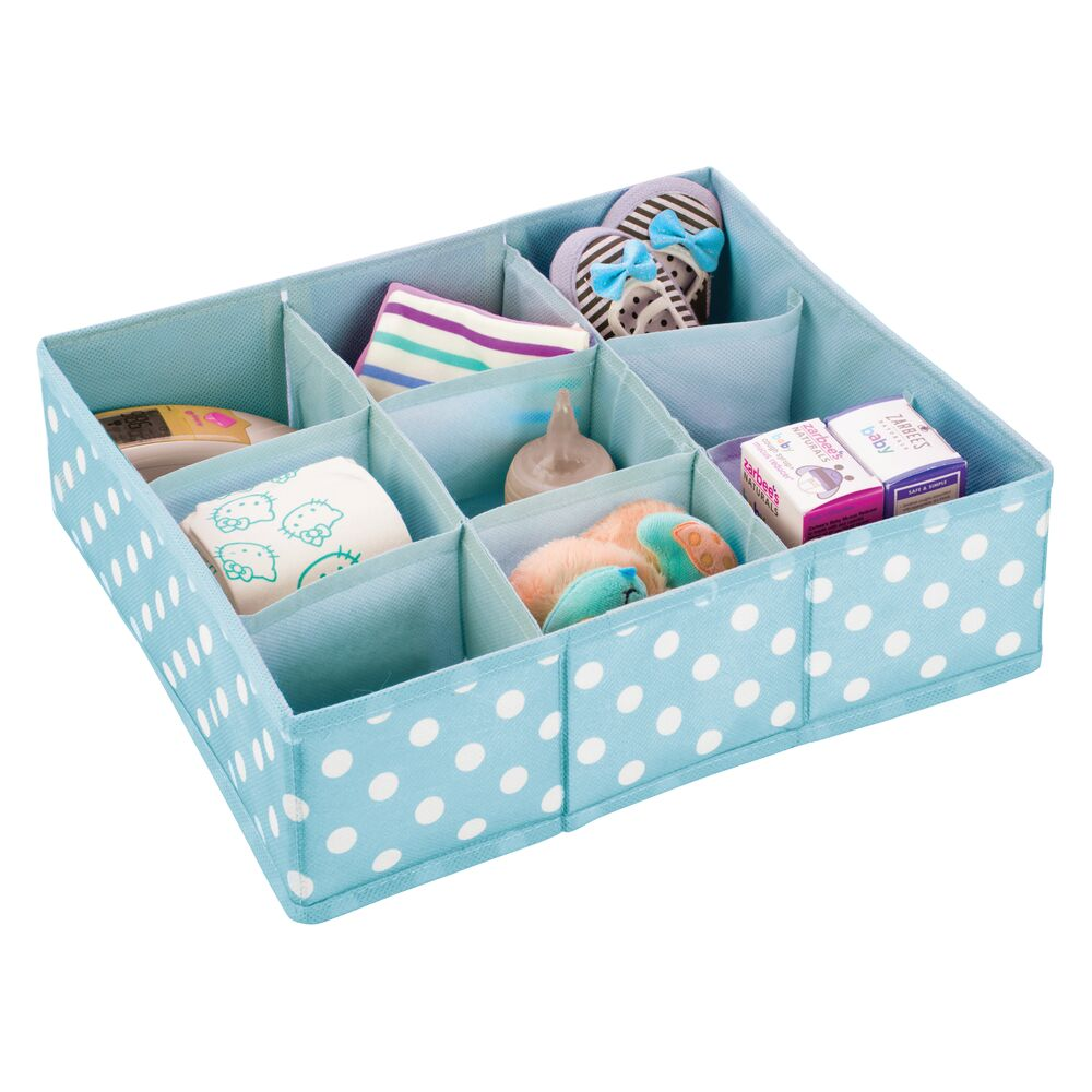 9 Section Baby + Kids Fabric Drawer Organizer in Turquoise/White, 14
