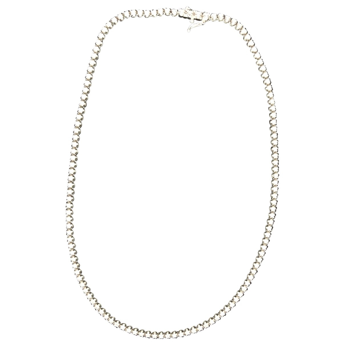 Non Signe / Unsigned Tennis Kette in  Silber Weissgold