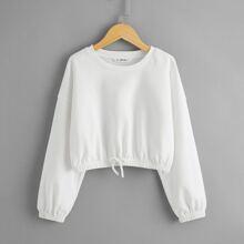Girls Drop Shoulder Knot Front Sweatshirt