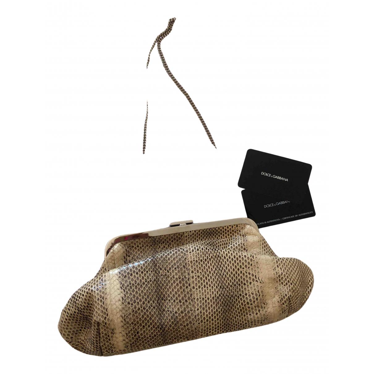 Dolce & Gabbana - Pochette   pour femme en python - beige