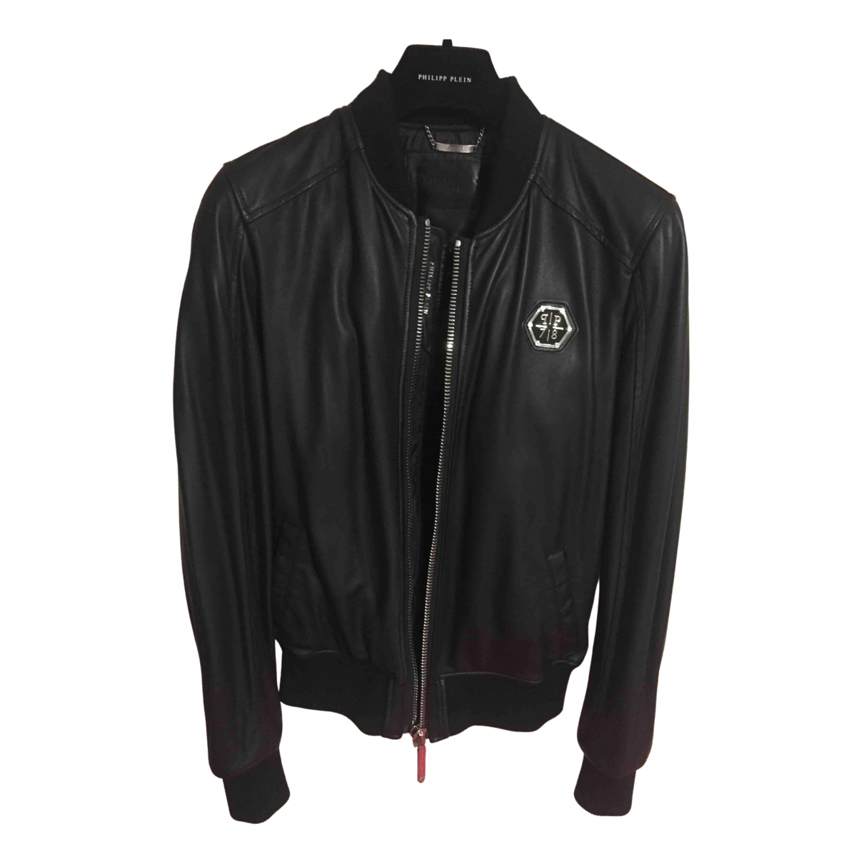 Philipp Plein N Black Leather jacket  for Men XL International