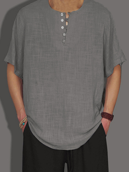Yoins INCERUN Men Summer Retro Chinese Style Cotton Linen Loose Casual T-Shirt