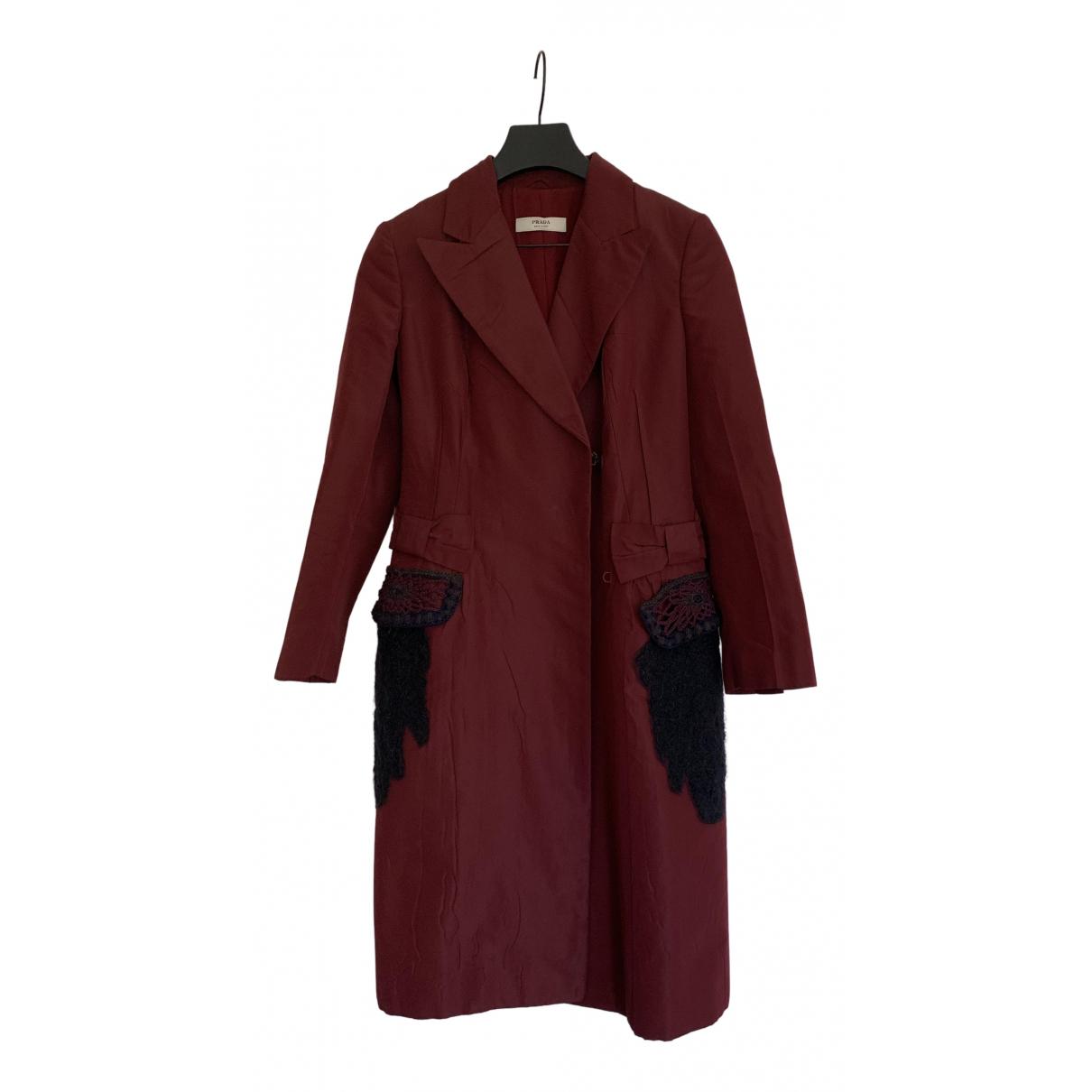 Prada - Manteau   pour femme - bordeaux