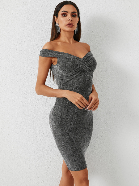 YOINS Silver Twist Design Off-the-Shoulder Glitter Dress