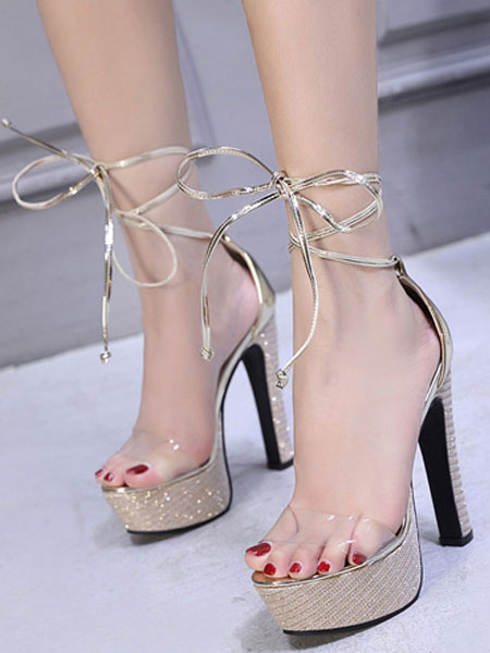 Milanoo Platform High Heel Sandals Womens Glitter Transparent Lace Up Chunky Heel Sandals