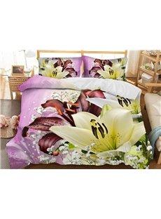 Buffy Lilies 3D Floral Duvet Cover Sets 3 Piece Bedding Set with 2 Pillow Shams