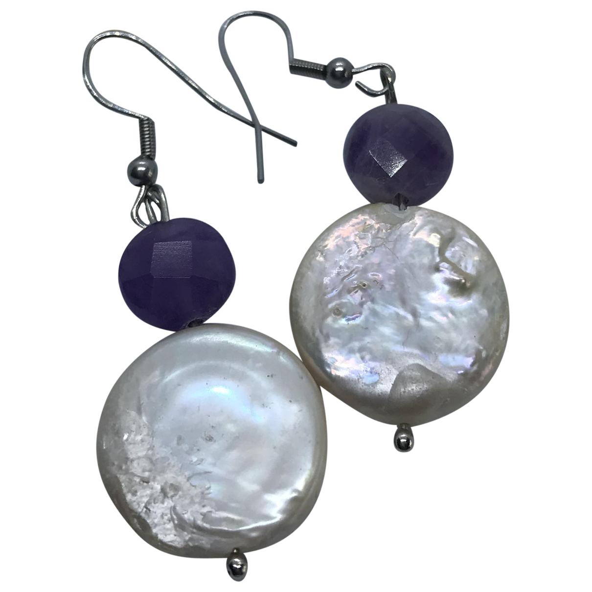 - Boucles doreilles Amethyste pour femme en perle - multicolore