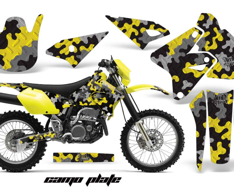 AMR Racing Dirt Bike Graphics Kit Decal Sticker Wrap For Suzuki DRZ400S 2000-2018áCAMOPLATE YELLOW