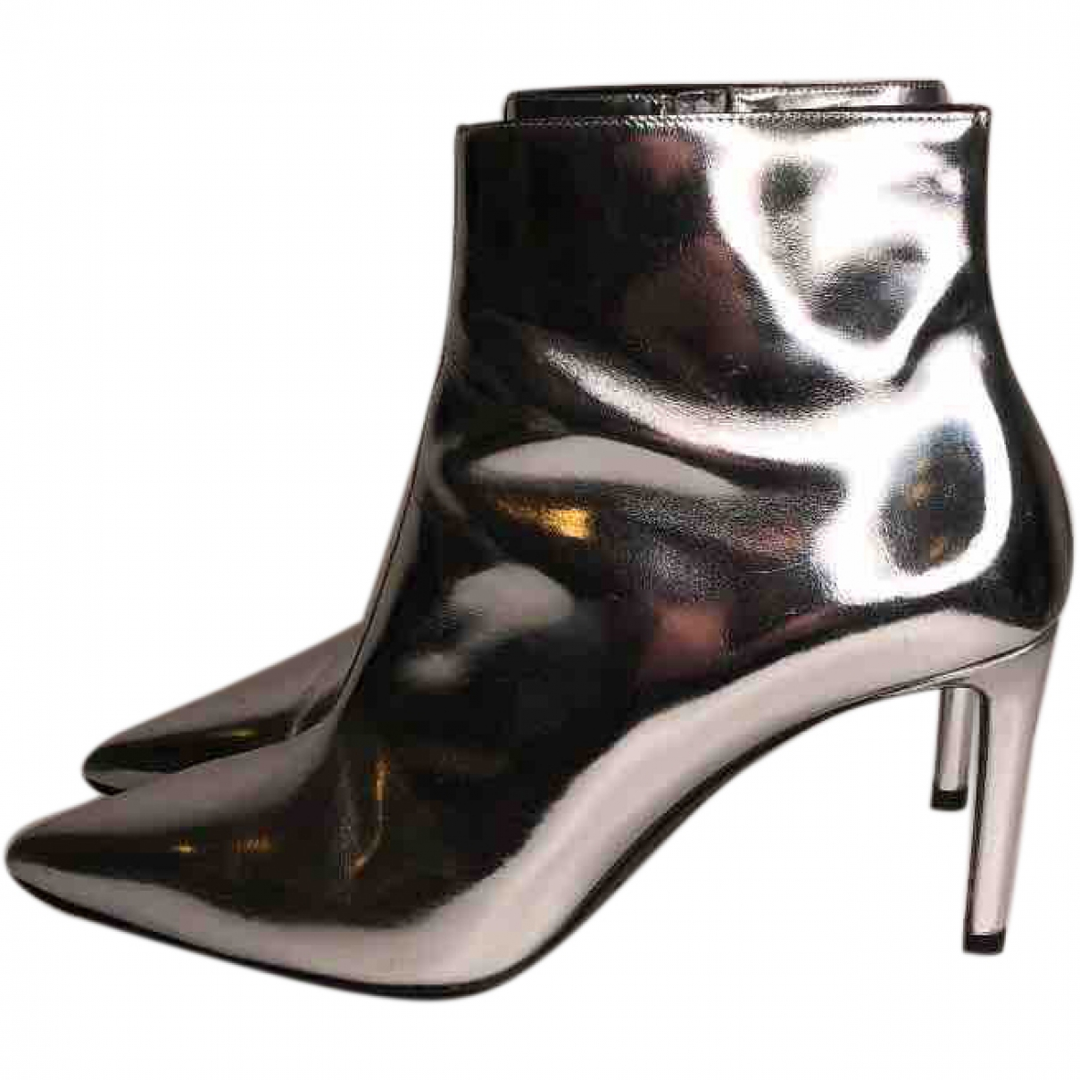 Balenciaga \N Silver Leather Ankle boots for Women 38 EU