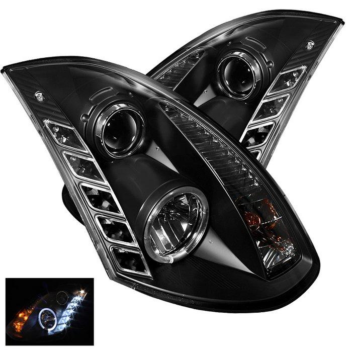 Spyder DRL LED Black Projector HeadLights Infiniti G35 2Dr 03-07