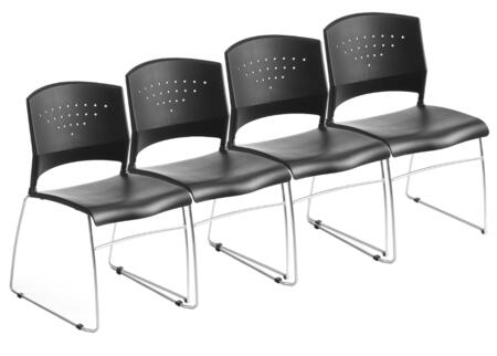 B1400-BK-4 Set of 4 Stack Chair With Chrome Frame and Sculpted Seat Back in