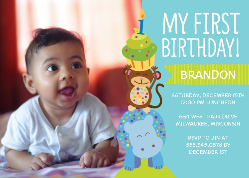 Birthday Greeting Cards Mail-for-Me Premium 5x7 Folded Card , Card & Stationery -Animal Cupcake Party Birthday - Boy