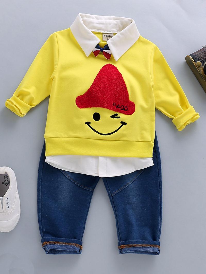 Ericdress Cartoon Lapel Long Sleeve T-Shirt Jeans Baby Boys Outfit