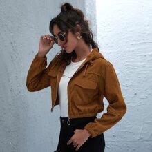 O-Ring Zipper Crop Corduroy Jacket