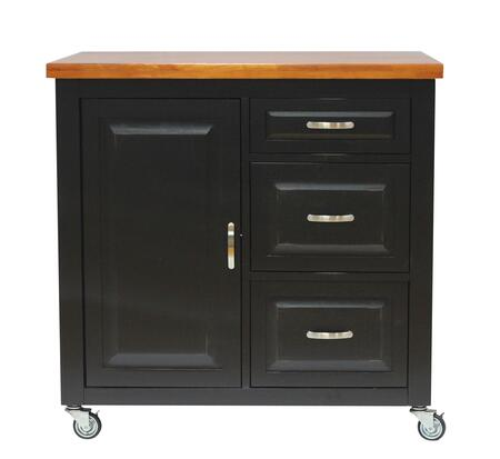 PK-CRT-04-BCH Kitchen Cart with Distressed Antique Black With Cherry Rub Through And Distressed Cherry Finish