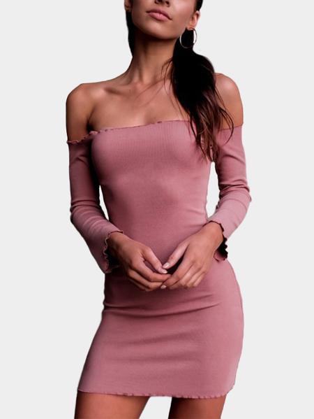 Yoins Pink Plain Flounced Details Off Shoulder Bodycon Mini Dresses