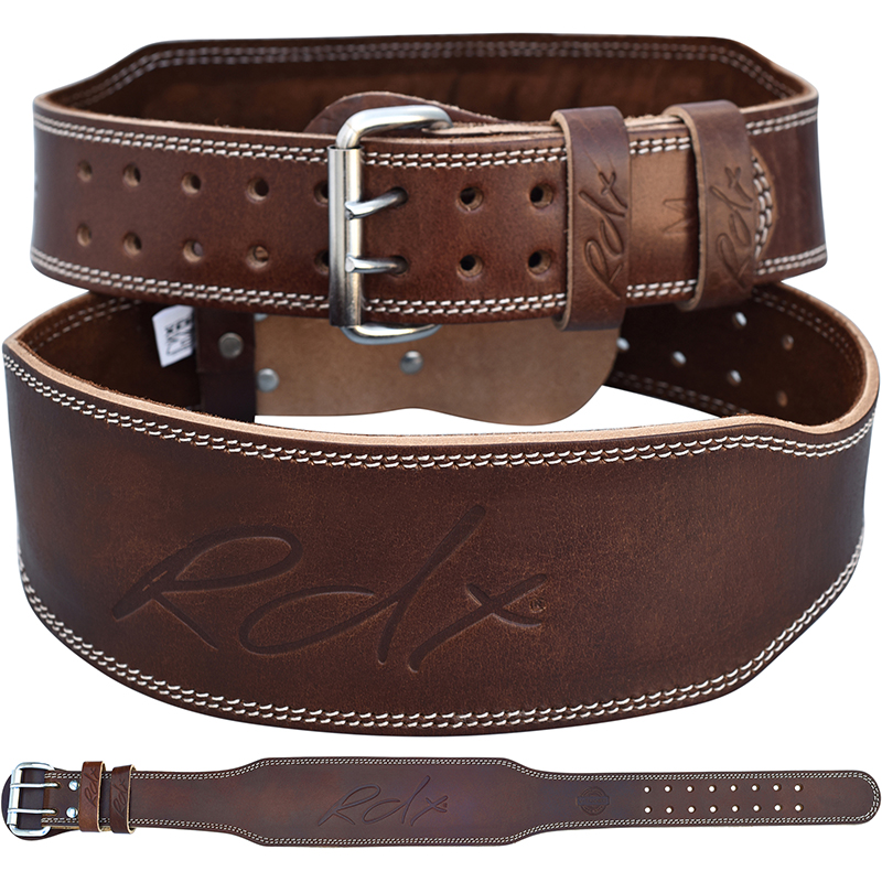 RDX Gym Belt 4 Inch Leather Medium Brown