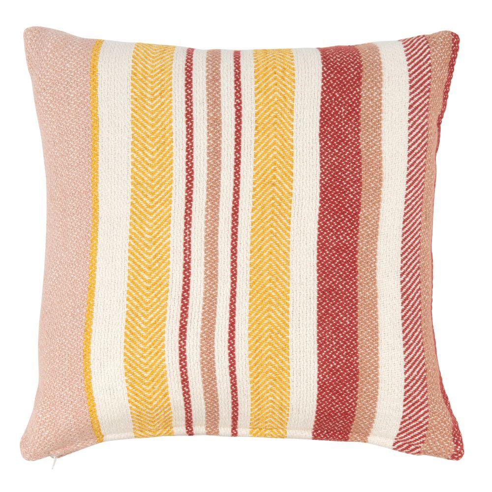 Kissenbezug aus Baumwolle mit dreifarbigem Streifenmuster 40x40