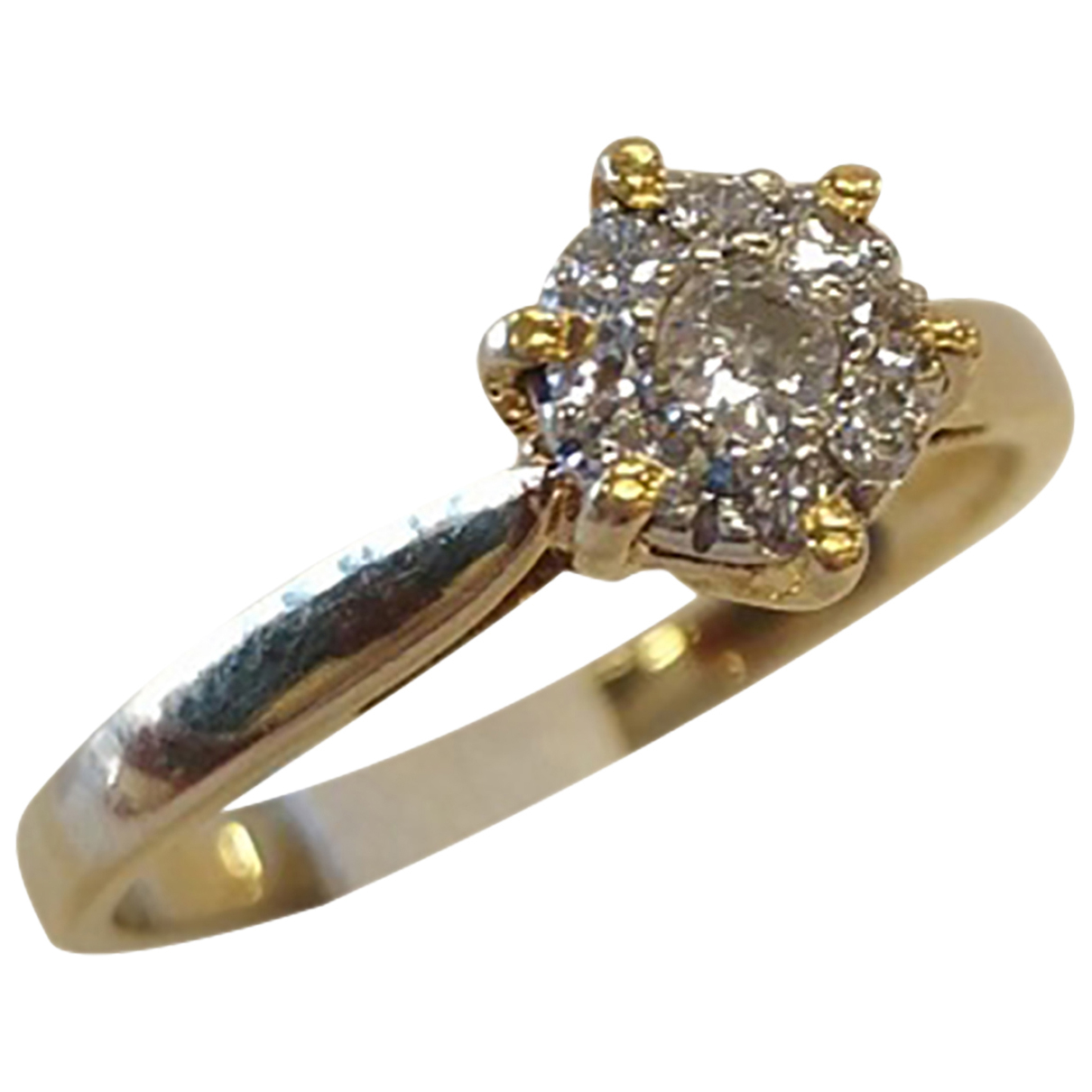 Non Signe / Unsigned Solitaire Ring in  Gelb Gelbgold