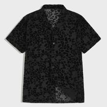 Maenner Hemd mit Revers Kragen, Leopard Muster und Netzstoff