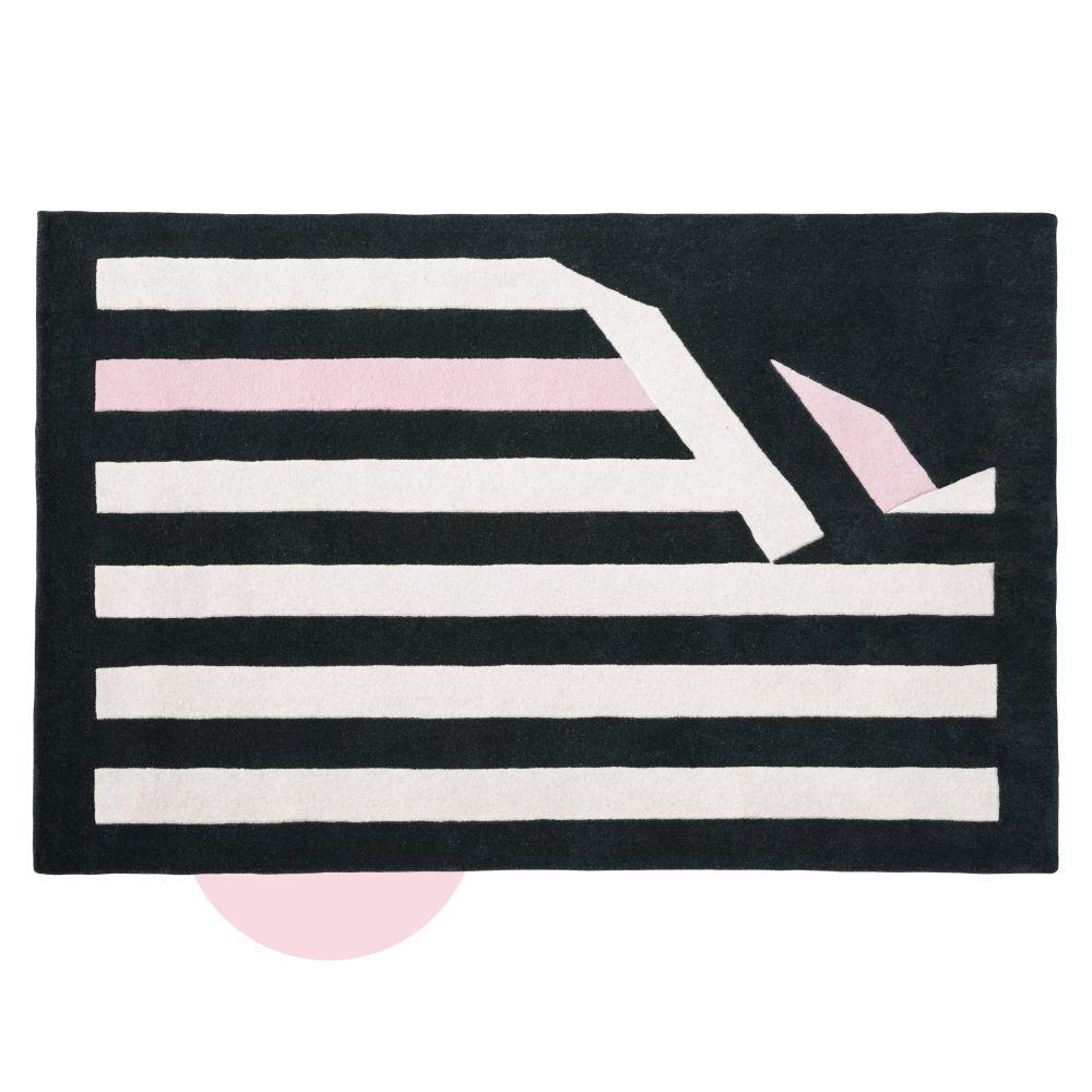 Dreifarbiger Wollteppich mit Streifenmuster 140x200 Chantal Thomass