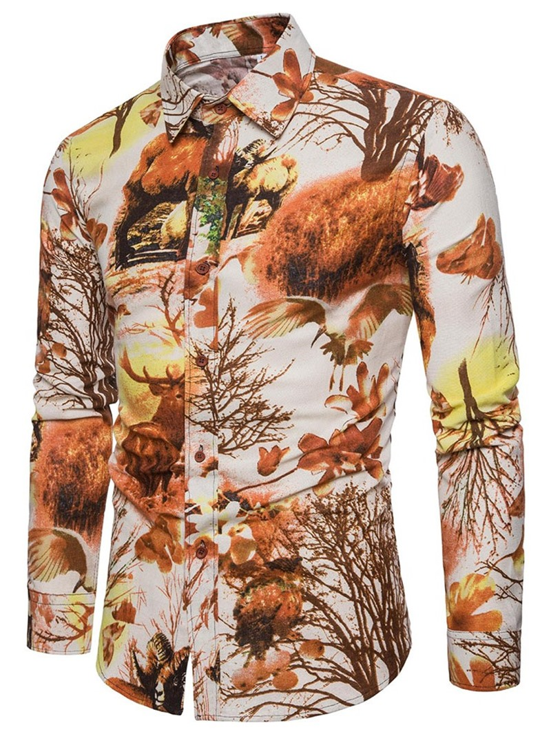 Ericdress Vintage Lapel Print Men's Spring Slim Shirt