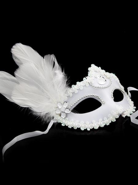 Milanoo Halloween Mardi Gras Black Feather Covering Halloween