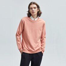 Men Solid Round Neck Sweatshirt