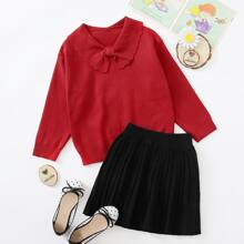 Girls Solid Peter Pan Collar Scallop Trim Sweater & Pleated Knit Skirt