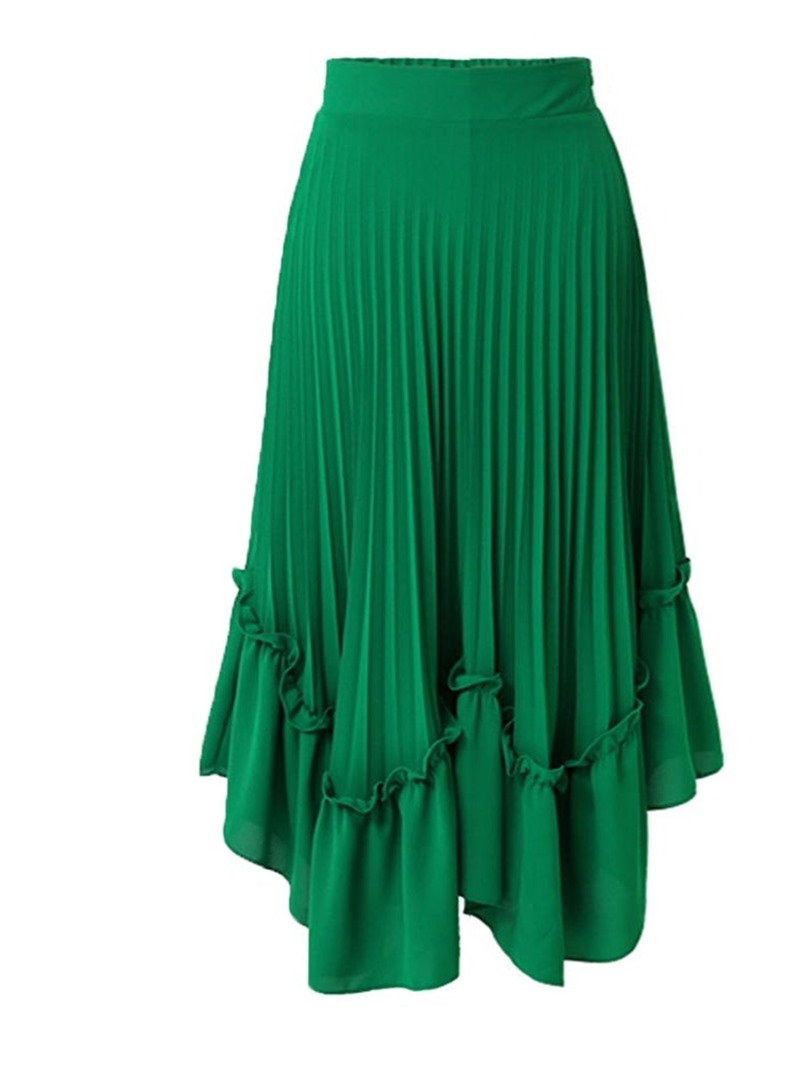 Ericdress Asymmetrical Plain Pleated Women's Skirt