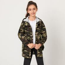Girls Zipper Front Camo Hooded Coat