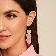 1pair Heart Chain Drop Earrings