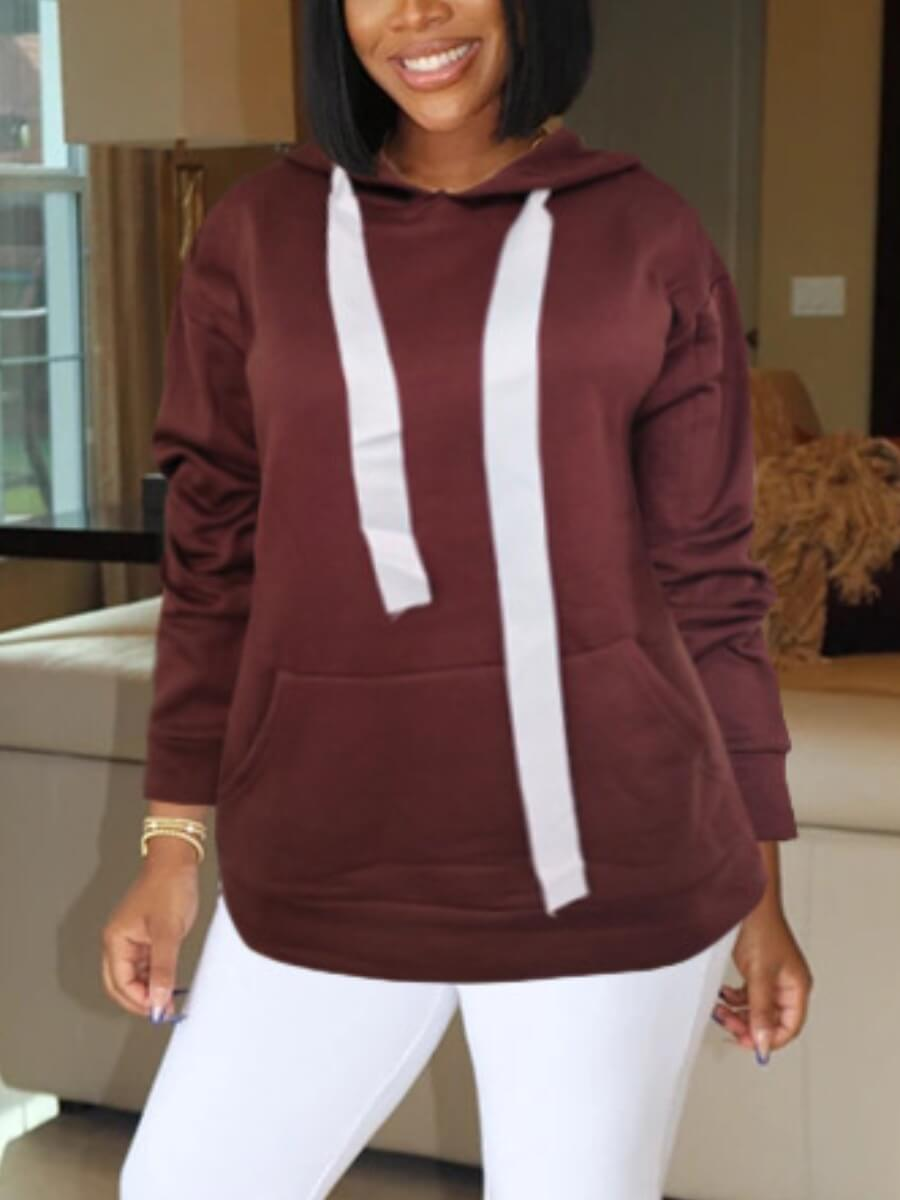 LW Lovely Casual O Neck Drawstring Design Brown Hoodie