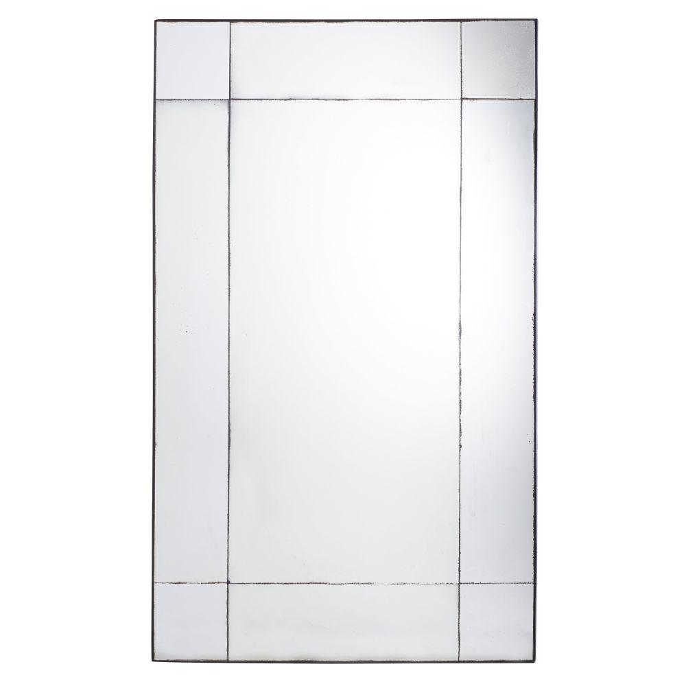 Spiegel aus Metall, schwarz in gealterter Optik 100x161