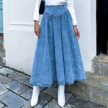 High Waist Denim Flared Skirt