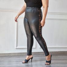 Plus Lace Panel PU Leather Leggings