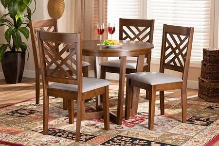 ALENA-GREY/WALNUT-5PC DINING SET Alena Modern and Contemporary Grey Fabric Upholstered and Walnut Brown Finished Wood 5-Piece Dining