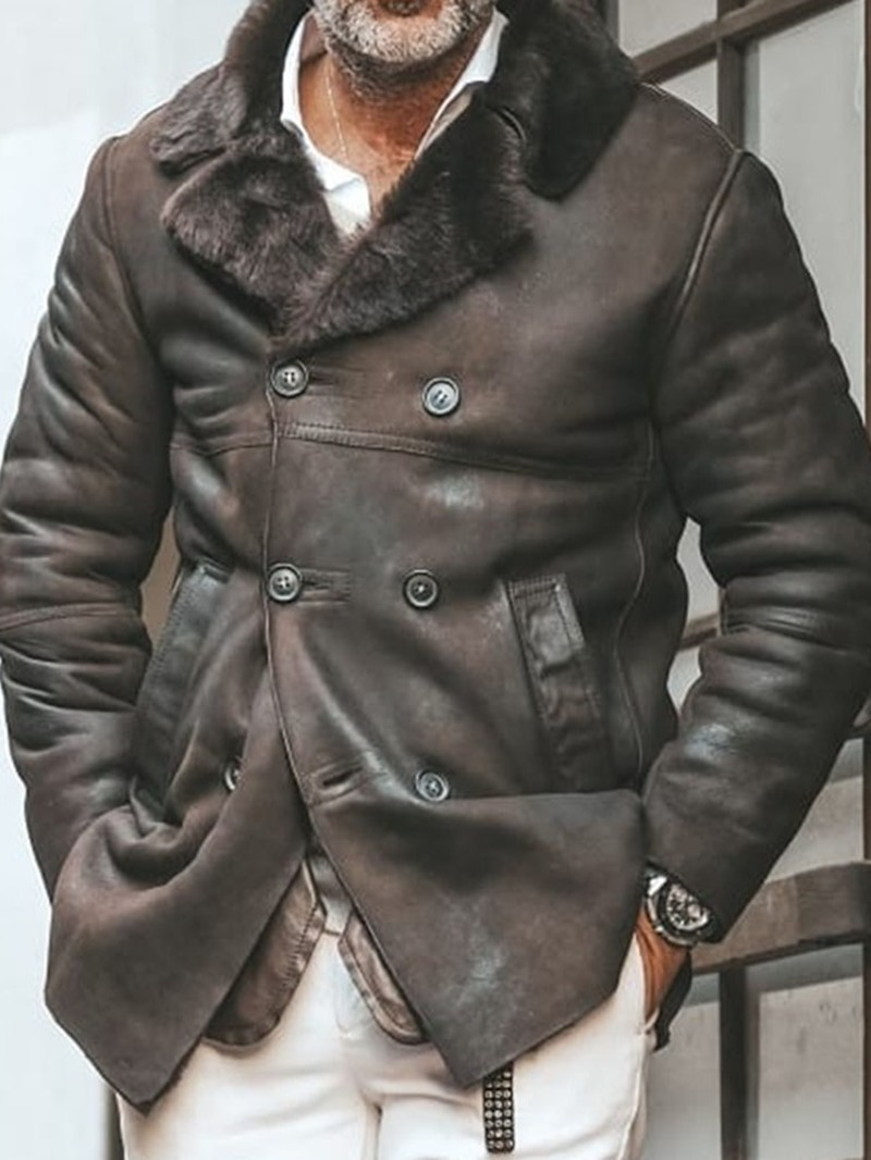 Ericdress Plain Lapel Winter Double-Breasted Jacket