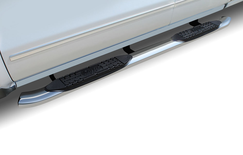 Raptor Series 1507-0217 Titan Step Bars 4 In Curved Oval 04-15 Nissan Titan Extended/King Cab OE Style Stainless
