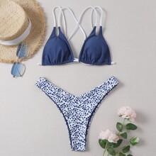 Bikini Badeanzug mit Dalmatiner Muster und hohem Ausschnitt