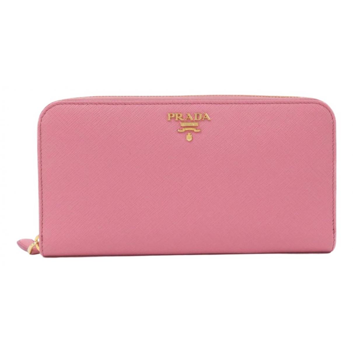 Prada - Portefeuille   pour femme en cuir - rose