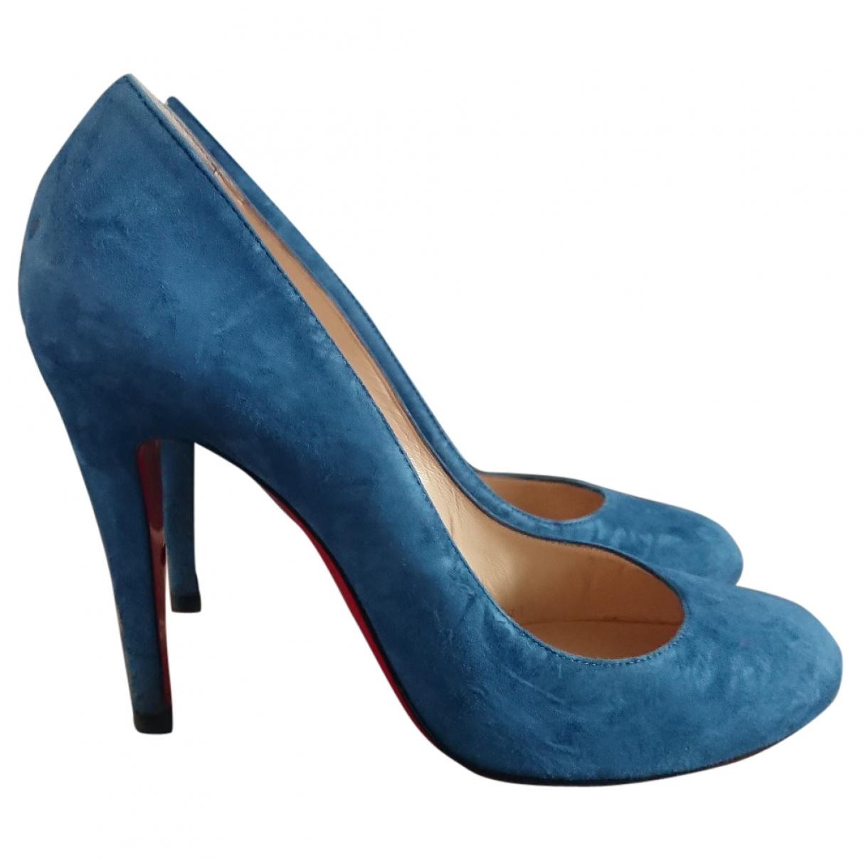 Christian Louboutin - Escarpins   pour femme en suede - bleu