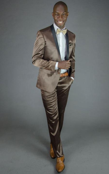 Mens 2 Button Brown Shawl Lapel Slim Fit Tuxedo