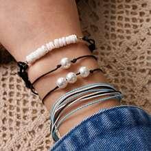 4pcs Faux Pearl Decor String Bracelet