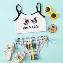 Bikini Badeanzug mit Schmetterling & Karo Muster und seitlichem Band
