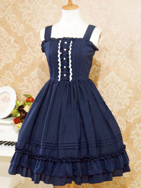 Milanoo Sweet Lolita JSK Dress Ruffles Ice Cream Puff Button Frill Lolita Jumper Faldas
