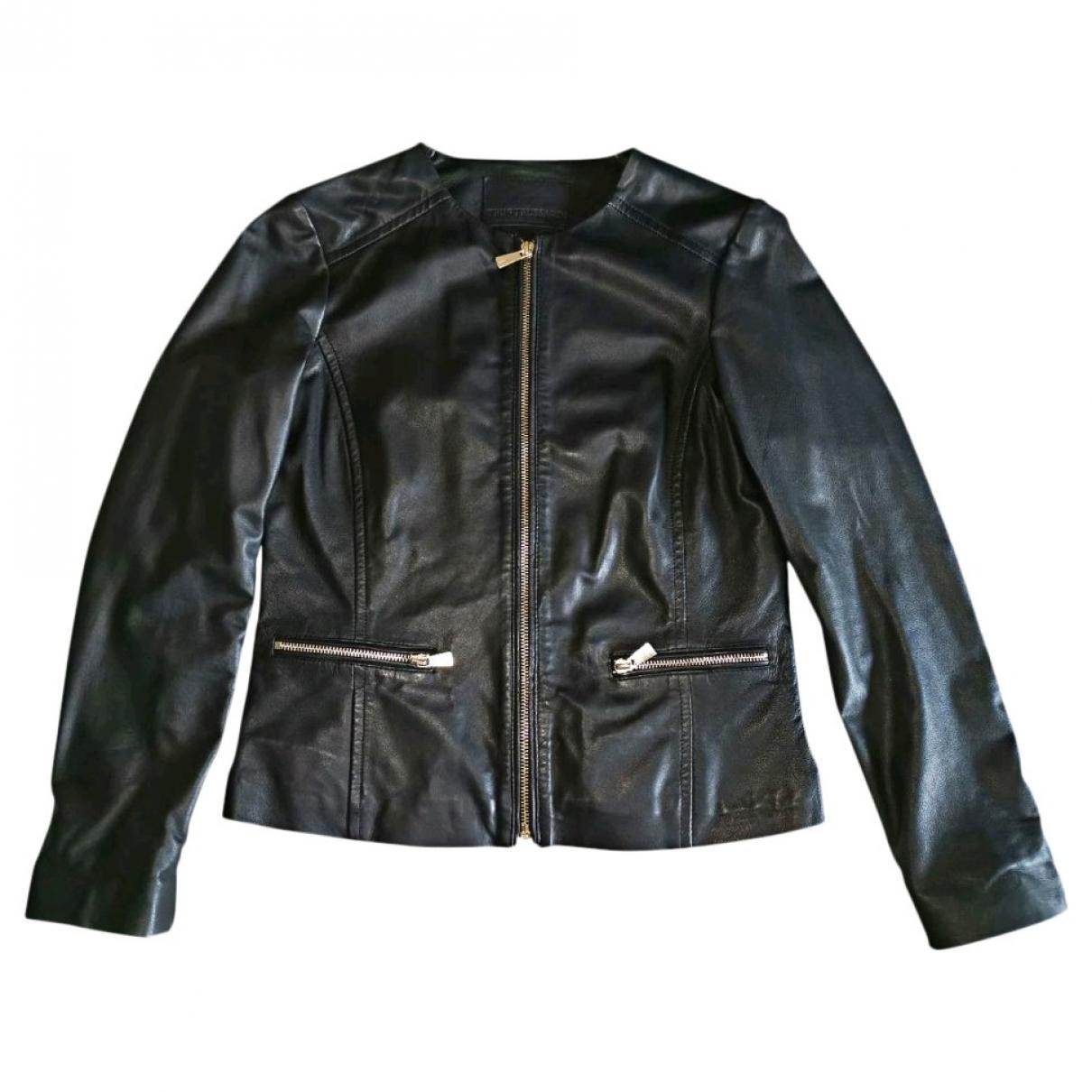 Trussardi - Veste   pour femme en cuir - noir