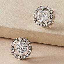 1pair Rhinestone Decor Round Stud Earrings