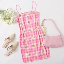 Plaid Bodycon Slip Dress