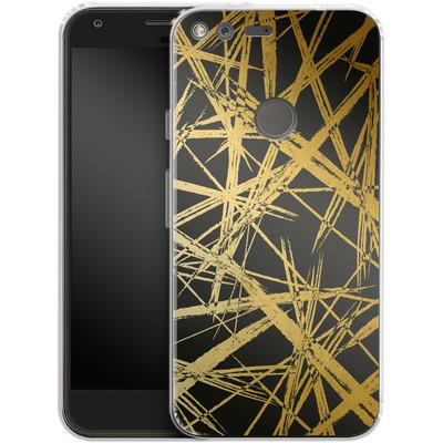 Google Pixel XL Silikon Handyhuelle - Strokes Gold Black von Khristian Howell